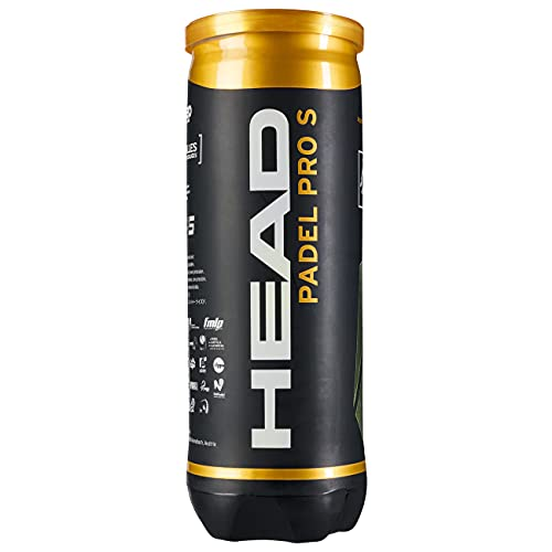 HEAD Padel Pro S Pelotas Bote, Adultos Unisex, Negro, 3 Uni