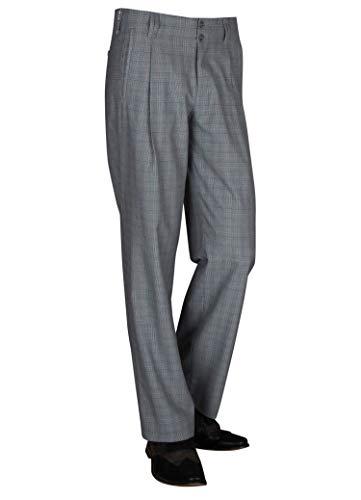 Karierte Herren Hose Retro-Vintage Stil, Swing Lindy Hop Herren Stoffhose mit Bundfalte in 50er 60er Swing Style Männer Hosen Größe 48