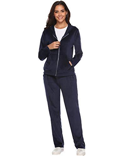 Aibrou Women's Velour Sweatsuit Active Zip Hoodie Tracksuit Set Loungewear (Navy_1, X-Large)