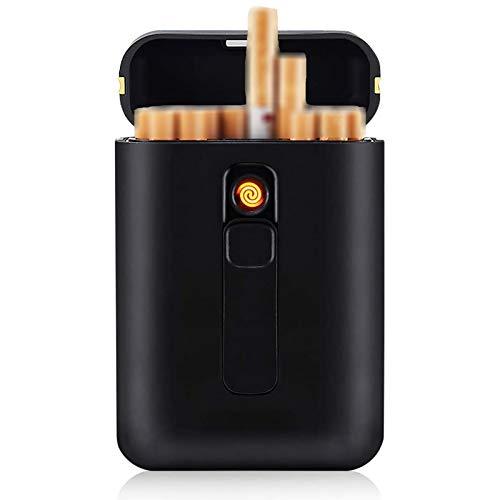 Bias&Belief Caja De Cigarrillo con Encendedor Cigarette Case De Aluminio Caja Cigarrillo Hebilla Magnética con Mechero USB Recargable Pitillera para Hombre Y Mujer