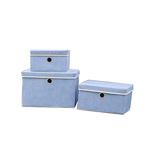 BHAHFL Paquete De 3 Cajas Almacenaje con Tapa Y Asas,Caja Organizadora De Almacenamiento Plegables,No Tejido Cajas De Ordenación para Armario,Dormitorio,Ropa,Mantas,Zapatos,Cosméticos,Juguetes,Azul