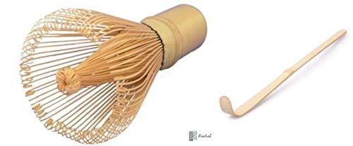 Knaller-Set: Matcha-Set mit Bambusbesen 100 Borsten + Bambuslöffel, handgefertigt im roten Organzabeutel