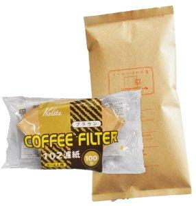 カリタ102コーヒーフィルター 2〜4人用 100枚入り 『キリマンジャロの雫』 150g 15杯〜21杯 [中挽き] コーヒー豆/浅煎り