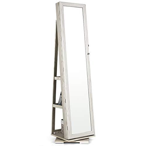 COSTWAY Armario de Joyero con Espejo y Estante de Escalera Gabinete de Joyería Giratorio con Cerradura para Anillos Ganchos de Cadena Pendientes Organizador