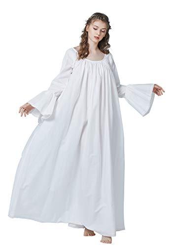 BEAUTELICATE Viktorianisches Nachthemd Langarm 100% Baumwolle Lang Nachtkleid Für Damen Braut Hochzeit Loses Retro Nachtwäsche Elfenbein (Elfenbein, XXL)