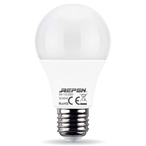 REPSN Lampadina LED E27,12W Equivalenti a 75W,Luce Bianco Naturale 4000K,1055Lm,Dimmerabile,Pacco da 2 Pezzi