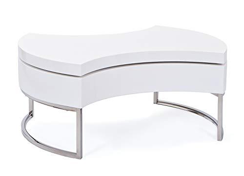 Inter Link Couchtisch Wohnzimmertisch Lounge Tisch Beistelltisch MDF verchromtem Stahl weiß lackiert