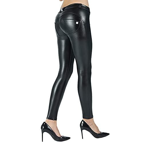 RTYUIO Leggings de Cuero Negro sin Animales Pantalones de Fajas de Mujer Pantalones Pitillo de Fitness Ajustados Pantalones de Tubo Push Up de Cuerpo Entero Sexy Gym (Color: 2MWSBL, Tamaño: Large)