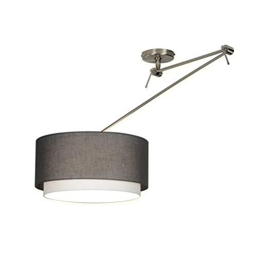 Stoff Schatten Pendelleuchte E27 Hängeleuchte Verstellbarkeit Drehbar und Verstellbare Höhe Pendellampe Modern Kreative Hängelampe Leselampe für Wohnzimmer Schlafzimmer, 1- Flammig MAX 40W (B)
