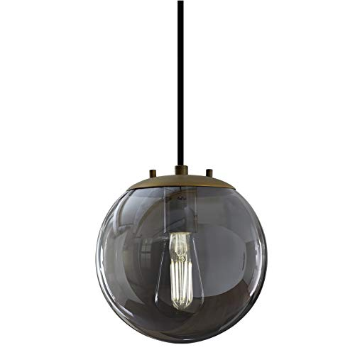 Sferra Gold Globe Pendant Light Fixture - Farmhouse Pendant Lighting for Kitchen Island - Modern Hanging Lights with Large Clear Glass Globe and LED Edison Bulb Included