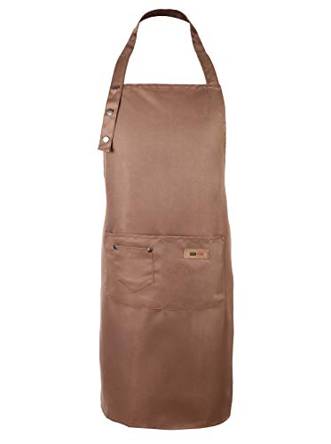 Sleeveless Kitchen Aprons with the Pockets For Women Adjustable Water Drop Resistant Smock For BBQ Baking Grilling (Khaki)