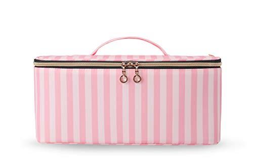 BAGSMART Schminktasche Kosmetiktasche Groß Make up Organizer Tasche Damen Reise Wasserabweisend für Kosmetik und Pflegeartikel (Rosa Streifen)