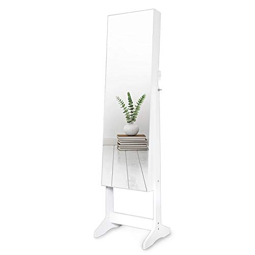 AJP Distributors Full Length Mirror Display Personalized Jewelry Cabinet Armoire Storage Lockable Compartment Makeup Cosmetics Brush Collection Holder Organizer  LED Lights Velvet Interior Gorgeous