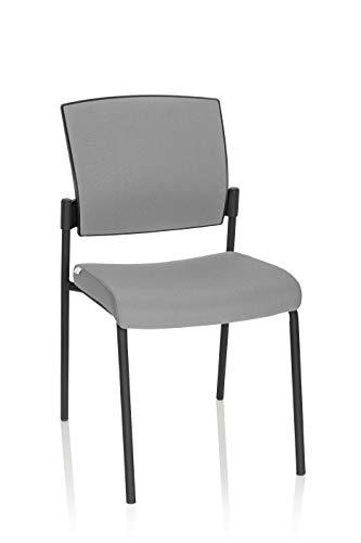 hjh OFFICE 820023 Besucherstuhl K9 V PRO Stoff Hellgrau/Schwarz Konferenzstuhl bis 180 kg belastbar, Sitz gepolstert, stapelbar