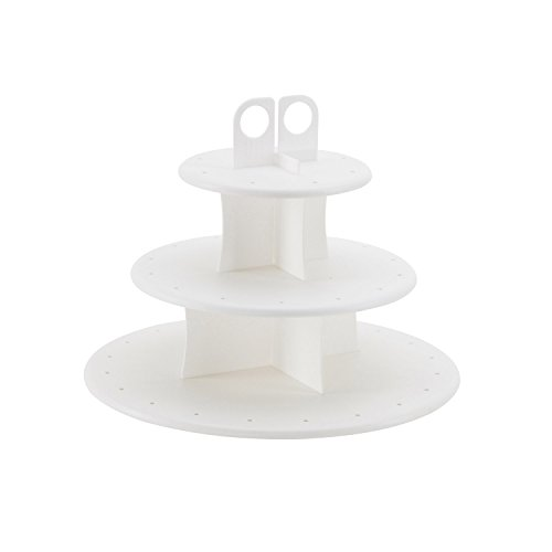 Sweet Creations Cupcake and Cake Pop 3-Tier Display Stand, Multisize, White