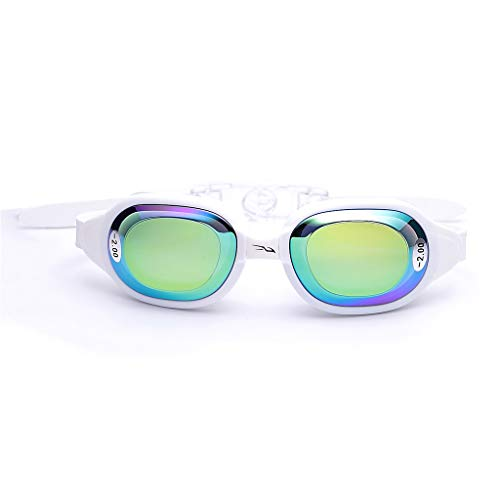 WggWy Myopia natación Gafas, Correa Ajustable película de galvanoplastia Anti-Huella Digital Anti Ultravioleta Impermeable para Hombres Adultos Mujeres Adolescentes y niños,Negro,3.0
