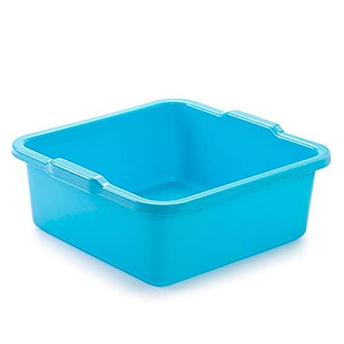 Cubo, barreño, tina de plástico multiuso 31 x 30 x 13 cm (8 Litros Cuadrado, Azul)