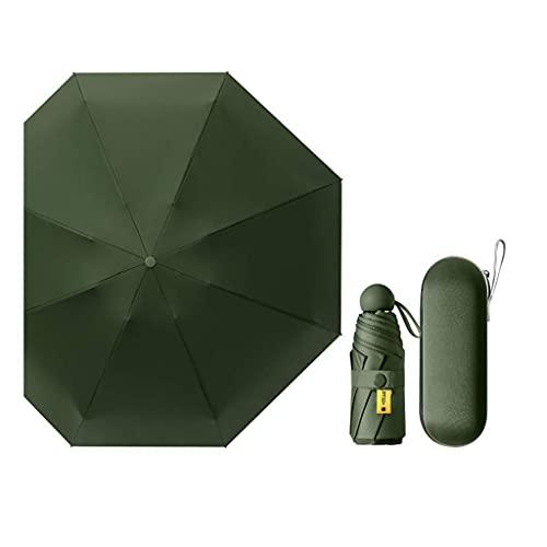 SLM-max Paraguas plegable portátil ultraligero mini cápsula paraguas paraguas de vinilo protección UV paraguas cinco plegable plegable verde oscuro