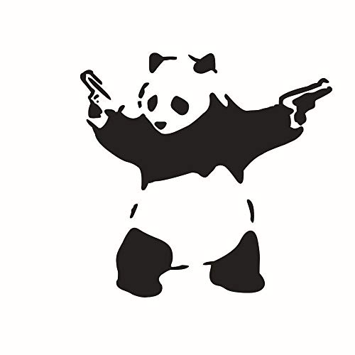 WYLD Auto stickers 10 * 10cm auto sticker schattige panda met geweren kung fu auto sticker vinyl decal voor carrosserie raam bumper tankdop laptop sticker