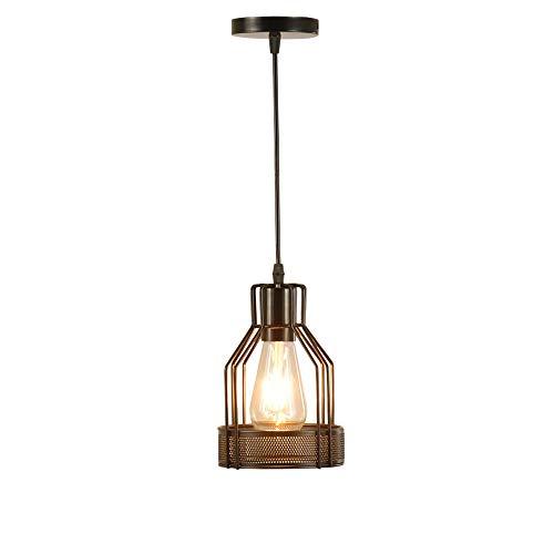 MFZWBGY Candelabro de hierro nórdico Decoración de estilo industrial Dispositivo de iluminación Lámpara de ahorro de energía de un solo cabezal Iluminación colgante de porche vintage Luces colgantes a