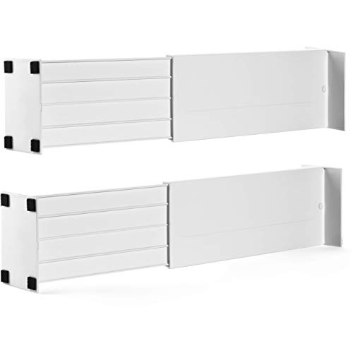 Dial Industries Adjustable Spring Loaded Drawer Dividers, Set of 2, 4.5' Deep, White