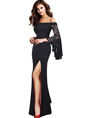 Vfshow Womens Floral Lace Off Shoulder Bell Sleeve Formal Party Maxi Dress 1810 BLK XL