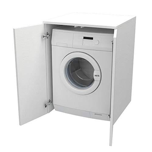 Ve.Ca. Mobile Coprilavatrice con ante, realizzato in legno, copri lavatrice/asciugatrice, diversi colori, anche su misura, lavanderia bagno arredo casa (Bianco frassinato)
