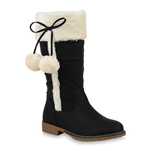 Warm Gefütterte Damen Winterstiefel Kunstfell Stiefel Bequem Schuhe 123822 Schwarz 41 Flandell