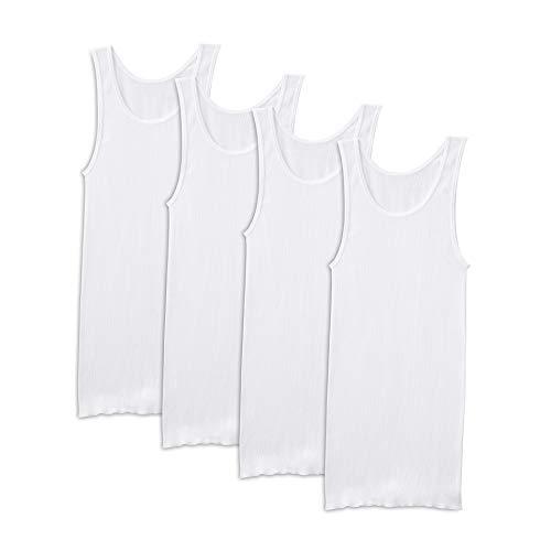 Fruit of the Loom Men's Tag-Free Premium Cotton Underwear & Undershirts, Tank - 4 Pack - White, Large