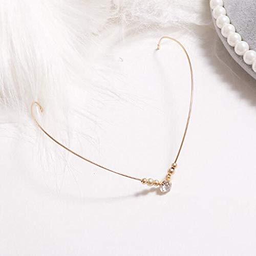2 piezas Diademas de sujeción trasera Diademas de aleación de cristal Diadema de hoja de perla Niñas Banda de pelo vintage Diamantes de imitación Accesorios para el cabello Tocado