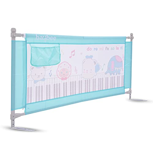 Baybee Bed Rail Guard Barrier for Baby Portable Safety Adjustable Height Falling Protector Fence Foldable Safeguard Bed Rails Single Side Bed for Newborn Toddler Kids Pack of 1 (Green, 180x63 cm)