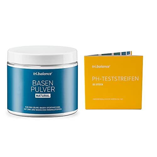 tri.balance Basenpulver NATURAL 300 g - 1er Pack inkl. 55 pH-Teststreifen - E-Book Entsäuerungskur I Classic I Vorteilspaket für den Säure-Basen-Balance