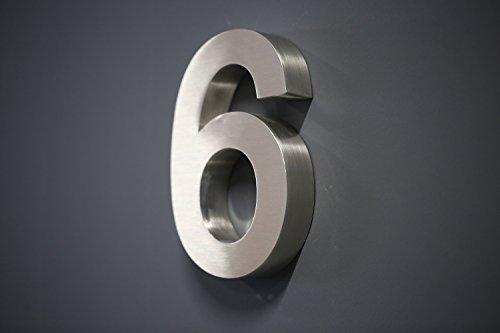 Lüllmann Hausnummer Premium Edelstahl in 3D Design Arial ALLE Zahlen H20cmxT3cm V2A TOP (Arial 20cmx3cm Nr.6)