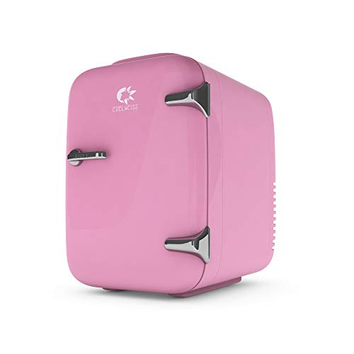 EDELWEISS Pink Mini Fridge for Bedroom Bathroom Counter, Skincare Fridge for Beauty Makeup Cosmetic, Mini Fridge for Breastmilk Storage, Personal Kawaii Tiny Refrigerator, Cute Gifts for Her, 4 Liter