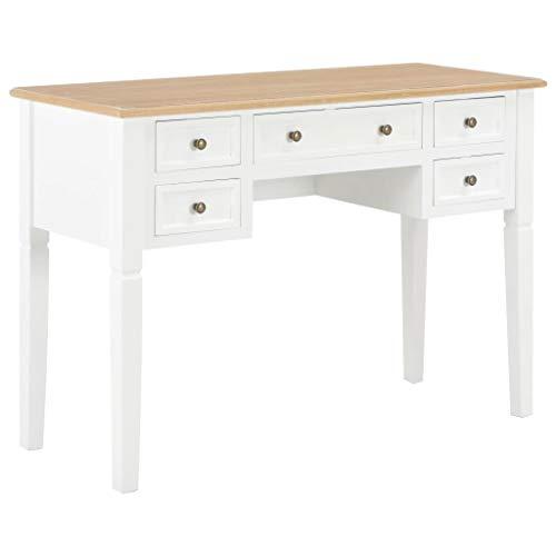 UnfadeMemory Schreibtisch mit 5 Schubladen Holz Arbeitstisch Computertisch Konsolentisch Bestelltisch Computerschreibtisch aus MDF + Kiefernholz 109,5 x 45 x 77,5 cm (Braun und Weiß)