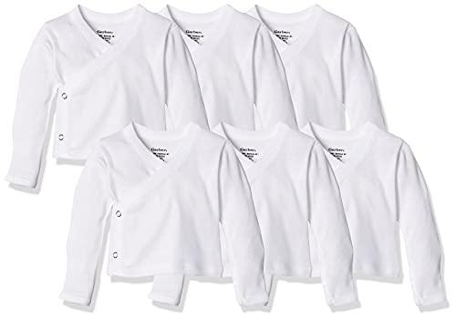 Gerber Baby 6-Pack Long-Sleeve Side-Snap Mitten-Cuff Shirt, White, 0-3 Months