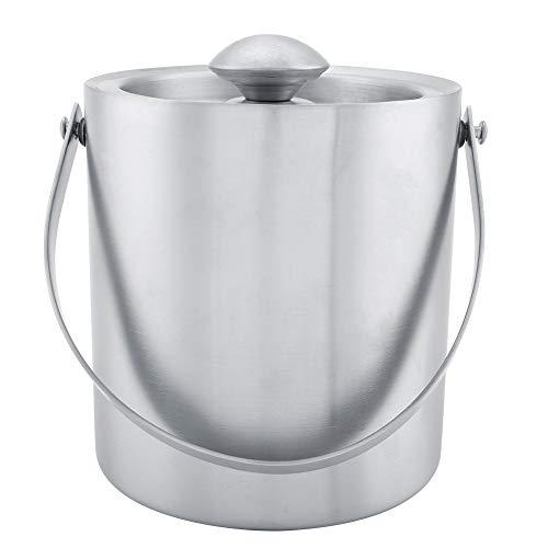 Cubo de hielo aislado de doble capa Cubo de hielo de acero inoxidable Cubo de hielo Cubo de hielo para banquete de boda para enfriar bebidas(2L)