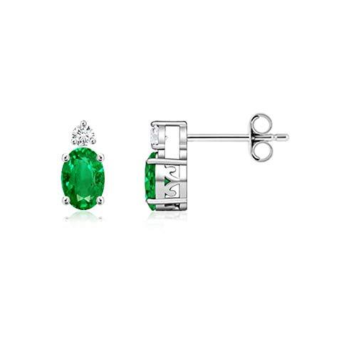 Cyber lunes–May piedra Natal–Cestas de mimbre ovalado Natural Emerald Stud Pendientes para mujeres con diamantes