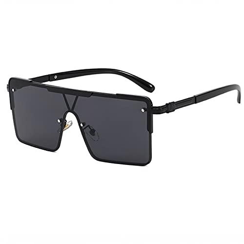 BAJIE Gafas de Sol, Gafas de Sol de Gran tamaño para Mujer, Gafas de Moda con Parte Superior Plana para Hombres y Mujeres, Sombras Uv400