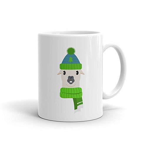 Queen54ferna Taza divertida Lama de Navidad fea taza de invierno para taza de invierno para fiesta de Navidad taza divertida para Navidad lindo Lama taza 11 oz
