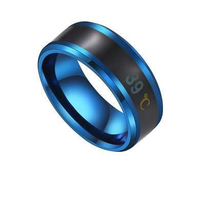 LZW Multifunctional Waterproof Multifunctional Water Temperature Sensor Smart Ring Color Ring Smart Ring Men's Smart Ring,Blue,9