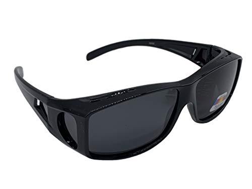 Matecs polarisierte Sonnen-Überziehbrille schwarz für Brillenträger UV 400 CAT3 für SIE & IHN