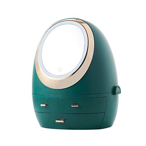 Aiglen Caja de almacenamiento de cosméticos Estante de almacenamiento de artefactos para dormitorio Escritorio a prueba de polvo (Color : Blue)