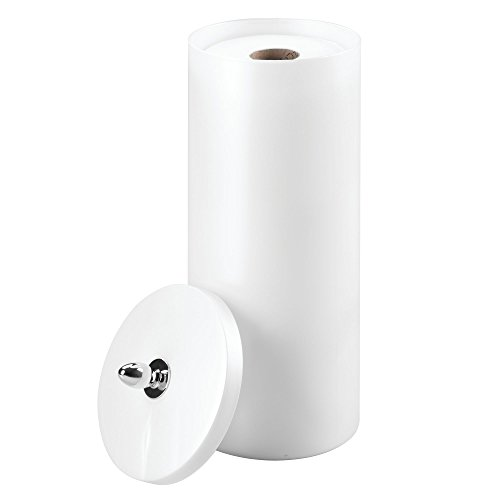iDesign Orb BPA-Free Plastic Free-Standing Toilet Paper Holder with Lid - 6' x 14', Pearl White