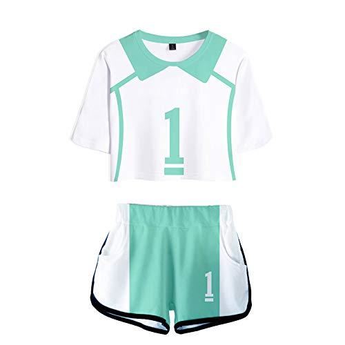YZJYB Haikyuu Karasuno Cosplay Oikawa Tooru Uniforme Aoba Johsai High School Volleyball Ropa Deportiva Mujere De Manga Corta Y Pantalón Verano Conjunto Deportivo,XXXX~Large
