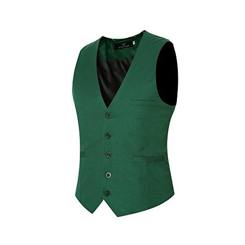 Herren Slim Fit Weste formelle Anzugweste Notch Revers V-Ausschnitt Business Kleid Weste Weste Weste, VS01 Grün, XXXL