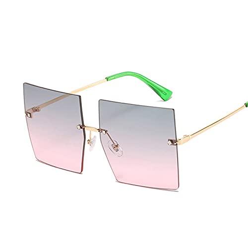 MIMITU Gafas de sol cuadradas de gran tamaño para mujer, gafas de sol sin montura de lujo vintage para mujer, montura grande, espejo degradado, metal, gris rosa