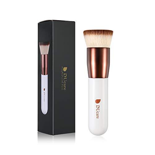 DUcare Flat Top Kabuki Foundation Brush, Synthetic Professional Liquid Blending Mineral Powder Makeup Tools, Rose Golden/White