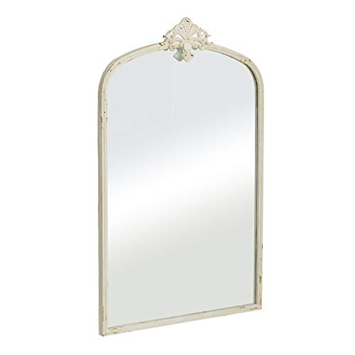 Espejo Cornucopia Shabby Chic Blanco de Metal y Cristal, de 60x95 cm - LOLAhome