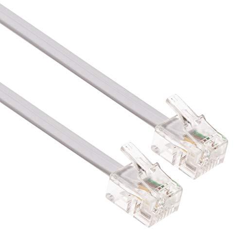 CAVO ADSL 20 metri Telefono Estensione Spina Internet ad Alta Velocità Telecom a Banda Larga Maschio a Maschio Router e Modem a RJ11 Presa Telefonica, Microfiltro, Filo di Rete Fissa (Bianco)